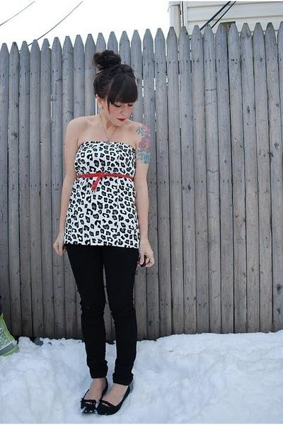 black Forever21 pants - white Target skirt - red Forever21 belt