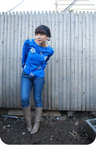 blue vintage blouse - blue kensie denim jeans - beige vintage boots
