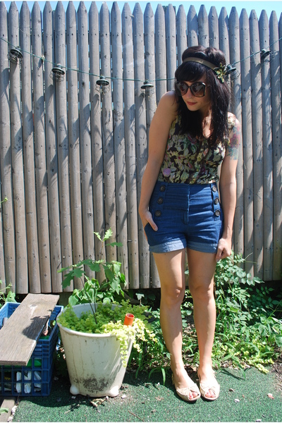 kensiegirl shorts - Mac &amp; Jac blouse - DIY - random store sunglasses