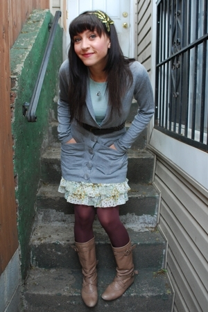 Made by Moi - kensie - Steve Madden boots - UO belt - kensiegirl sample skirt