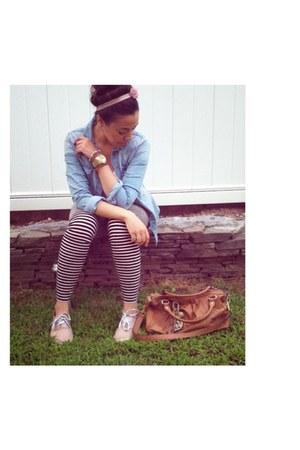 black H&M leggings - sky blue H&M shirt - dark brown Juicy Couture bag