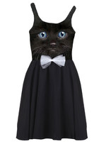 Black Cat Kitten Face Photo Printed Tank Bow Tie Cocktail Tea Party Dress