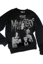 THE MUNSTERS Classic Black And White Family Photo Printed Organic Sweatshirt Top