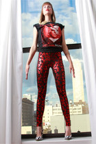 Metallic Lips Spandex Leggings