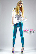 Scattered Mini Dot Metallic Printed Spandex Leggings