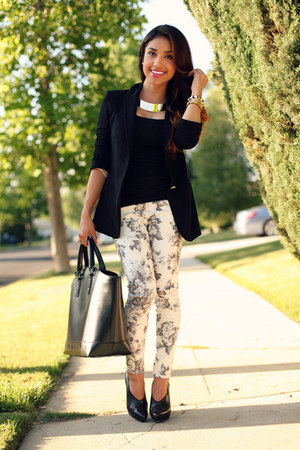 off white j brand pants - black Zara blazer - gold Express necklace