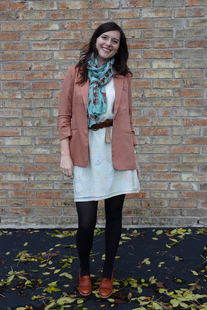 salmon Ruche blazer - nude madewell dress - black Target tights