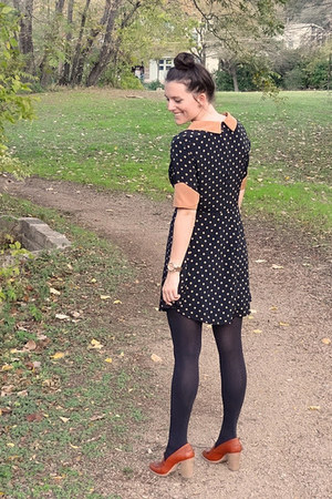 black Ruche dress - black Jcrew tights - brown madewell loafers