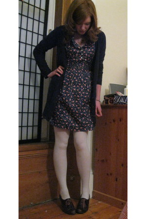 navy floral Trollied Dolly dress - white Topshop tights - navy navy H&M cardigan