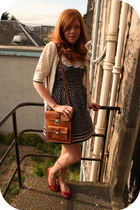blue Dorothy Perkins dress - red new look shoes - brown Urban Outfitters accesso