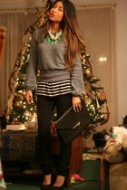 jade Forever 21 necklace - striped Jcrew shirt - black H&M purse