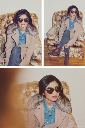 BB Dakota coat - ankle Target boots - tortoise shell Karen Walker sunglasses