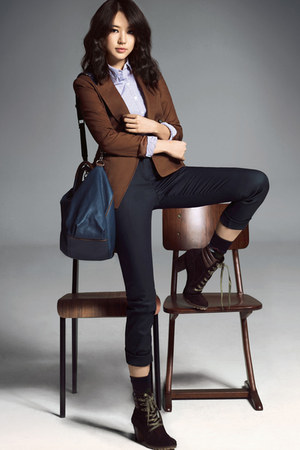 blue blouse - dark brown boots - brown Guess jacket - dark brown socks