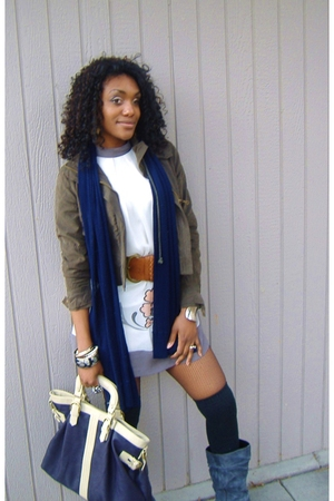gray Forever 21 dress - gray boots - blue purse