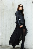 black Alexander Wang boots - black biker leather jacket