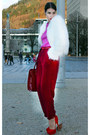 Ivory-vintage-from-ebay-jacket-hot-pink-handmade-sweater-red-bianco-heels
