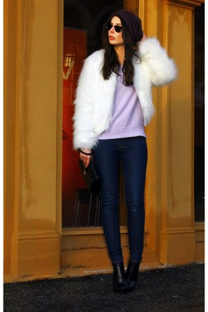 white unknown brand fur jacket - black Alexander Wang boots