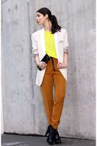 yellow H&M Trend top - cream Lanvin for H&M blazer - black Accessorize bag