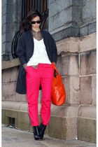 hot pink H&M pants - black Alexander Wang boots - gray H&M coat