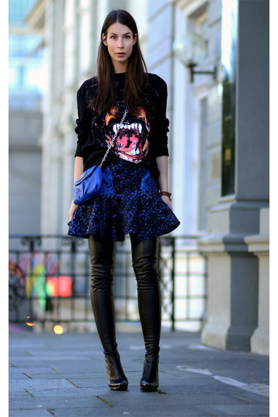 blue Stella McCartney skirt - black Givenchy sweater