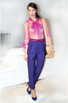 hot pink Rodarte for Target blouse - blue siganture heels - blue H&M pants