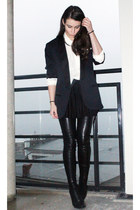 black Stella McCartney boots - navy lanvin blazer - white BikBok shirt