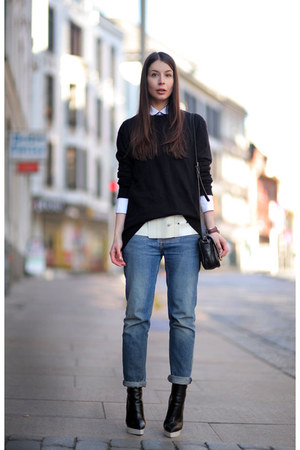 black Marc Jacobs sweater - white Celine shirt - black Stella McCartney clogs