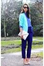 Aquamarine-h-m-trend-blazer-violet-acne-shirt-silver-zara-purse