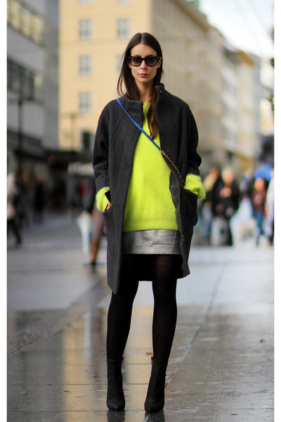chartreuse acne jumper - silver fillipa k skirt - black acne heels