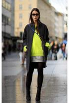chartreuse acne jumper - silver fillipa k skirt - black acne heels