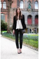heather gray rag&bone jeans - black acne jacket - white H&M blouse