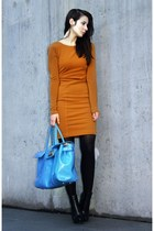 sky blue liz lange bag - black Alexander Wang boots - red H&M Trend dress