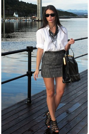 charcoal gray H&amp;M skirt - ivory Hugo Boss shirt - black By Malene Birger purse