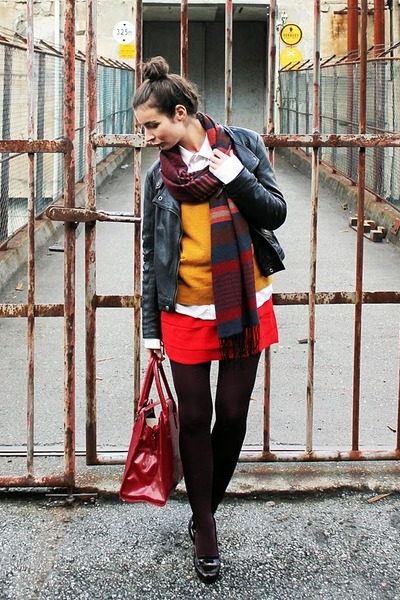 crimson H&amp;M scarf - red H&amp;M dress - burnt orange lindex sweater
