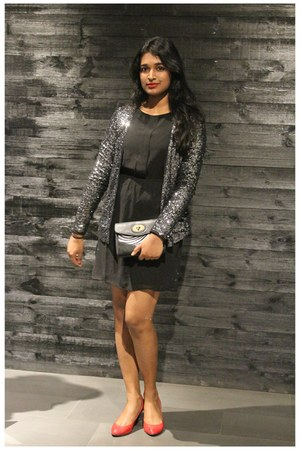 sequin Only jacket - black dress Only dress