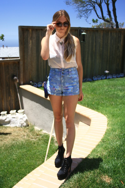 black boots - light blue Forever 21 shorts - light brown thrifted sunglasses