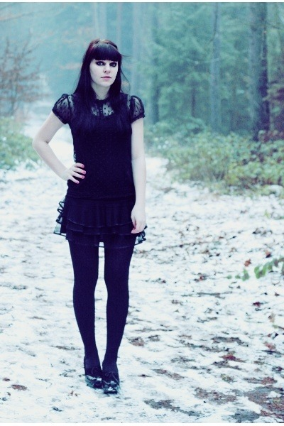 black sheer Zara blouse - black tutu jennyfer skirt - black La Perla intimate
