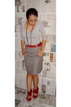 thrifted top - random brand belt - Bazaar skirt - Rubi in Singapore shoes