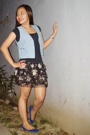 blue velvet Parisian shoes - blue denim cherieloves2shopmultiplycom vest - black