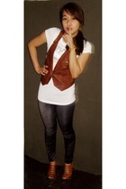 brown random brand vest - gray from singapore leggings - white sm department sto