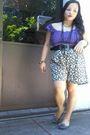 Purple-kamiseta-top-green-moms-shorts-black-dept-store-belt-black-random-