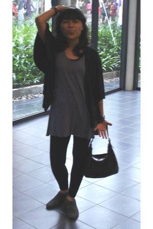 black leggings - purple Gaudi top - black oglea cardigan - blue belle shoes - br