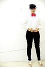 Red-accessories-white-flea-market-shirt-black-unbranded-pants-white-custom