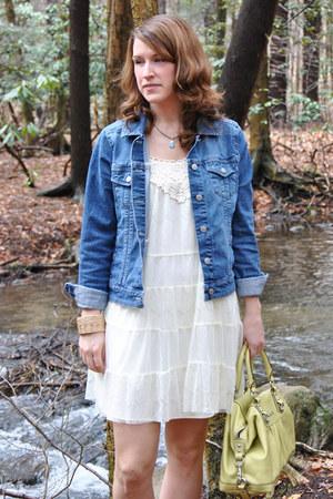 blue jean jacket kohls jacket - ivory lace Target dress - lime green coach bag
