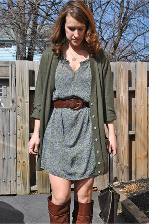 brown Dolce Vita boots - Old Navy dress - army green Old Navy cardigan