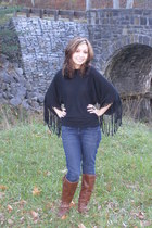 black Forever 21 top - navy jeans - brown boots - silver Target accessories