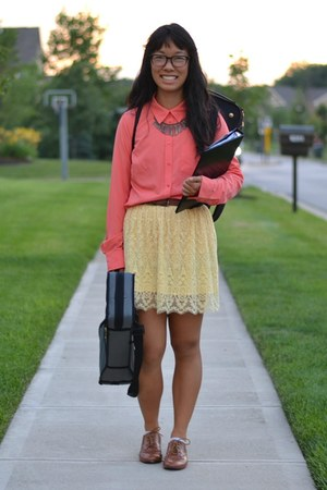 tawny Forever 21 shoes - light yellow H&M skirt - coral Target top