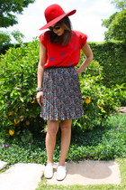 Anthropologie skirt - Christian Louboutin shoes - wide brim hat asos hat