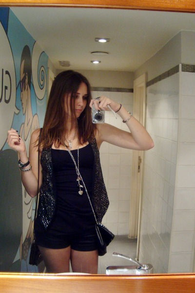 black Bershka vest - black H&M top - black Pepe Jeans shorts - black H&M accesso