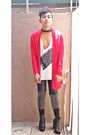Red-dorothy-perkins-cardigan-white-diy-t-shirt-black-shorts-gray-leggings-